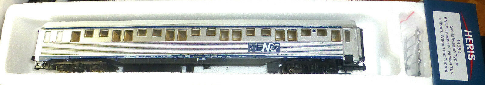 SNCF VAGONE LETTO DIECI tipo P ARGENTO ep.iv HERIS 14082 H0 1:87 conf. orig.
