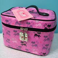 Fluff Prancing Cat Pink Train Case With Tag Makeup Bag Mod Atomic Kitty