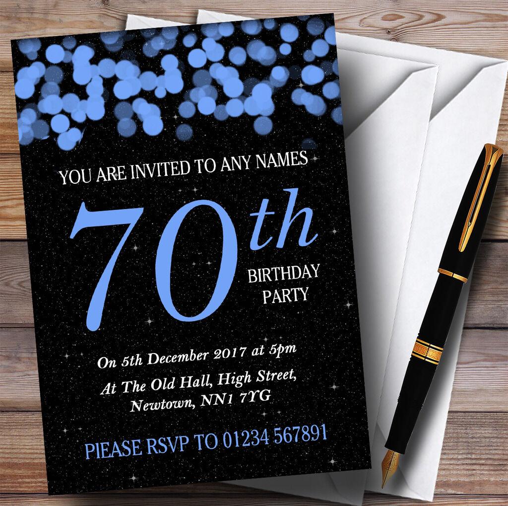 Blau Bokeh & Stars 70th Personalised Birthday Party Invitations