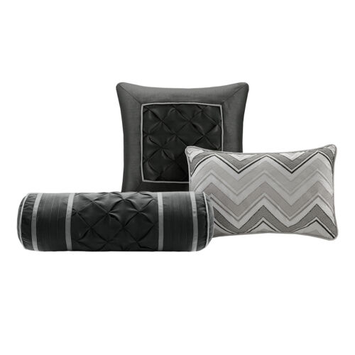 BEAUTIFUL MODERN RUFFLED PLEAT ~ PINCH RUCHED GREY BLACK COMFORTER SET /& PILLOWS