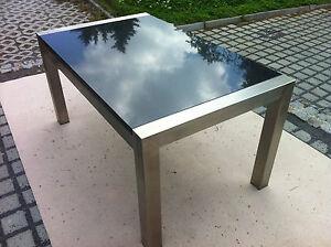 Gartentisch wohnzimmertisch 220x100 naturstein dunkel gestell in edelstahl stein ebay for Wohnzimmertisch edelstahl