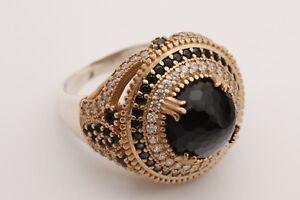 Turkish-Jewelry-Round-Shape-Black-Onyx-Topaz-925-Sterling-Silver-Ring-Size-8-5