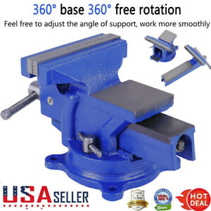 "5/"" Bench Vise with Anvil Swivel Locking Base Table top Clamp Heavy Duty Steel"
