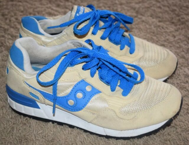 Women's Saucony Shadow 5000 Cream Yellow Blue White Low Running Shoes Sz 7