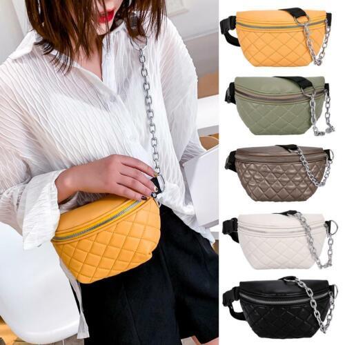 Fashion Pure Color Sport Women Waist Fanny Packs Leather Lattice Chest Bags Tote