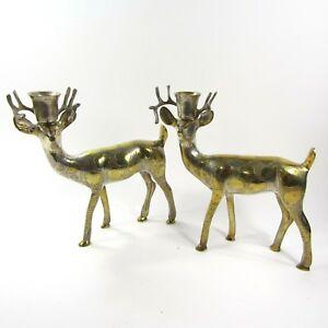 Pair-of-Brass-Reindeer-Candle-Holders-Taper-Centerpiece-Christmas-Deer-7-5-034