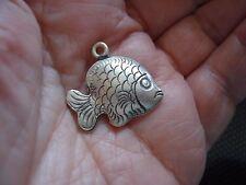 1 Thai Karen Hill Tribe .999 Fine Silver FISH Charm or Pendant, 24x22mm