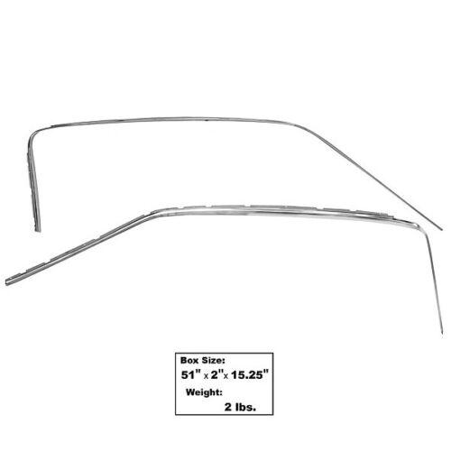 1965~1966 Mustang Fastback Door Drip Rail Sash Escutcheon Left /& Right  3640XC