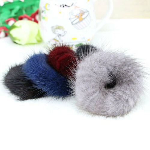 WR/_ FASHION WOMEN MINK HAIR SCRUNCHIE ROPE PONYTAIL TAIL STRIPE WRIST BAND NICE