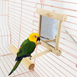 Mirror-with-Wooden-Frame-and-2-Landing-Perches-Bird-Cage-Budgie-Canary-Toy-Play