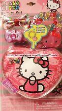 HELLO KITTY by SANRIO 4pc Lip Gloss & Hair Beauty Set COSMETIC BAG+CLIP+RING+