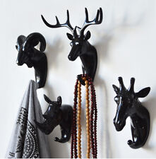 Home Decorative Wall Sculpture Animal Head Hook Resin Craft Hanger Xmas Gift Art