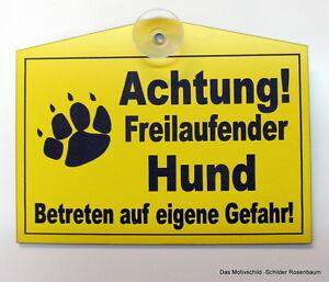 Dekoration Achtung Freilaufender Hund,türschild,hinweisschild,gravur,12 X 8 Cm,warnschild Attraktive Mode Schilder & Plaketten