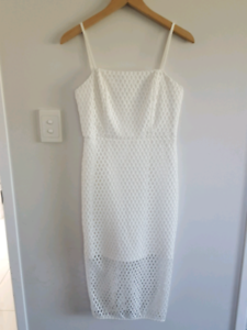 Worn Once EUC  Kookai 38 WHITE Aria Midi Dress, lattice style crochet
