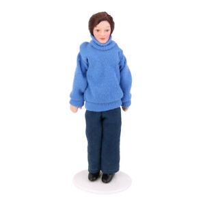 12th-Victorian-Porcelain-Doll-Dollhouse-Miniature-Figure-Man-In-Blue-Sweater