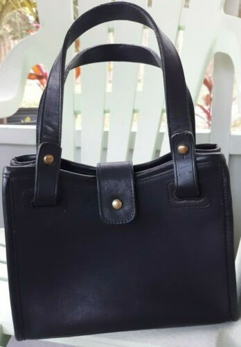 VTG Coach Bonnie Cashin Black Leather Mini Handbag