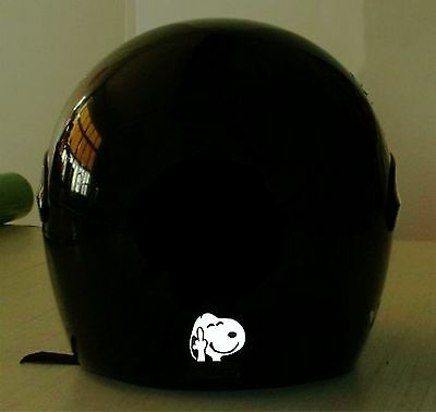 SNOOPY MIDDLE FINGER  REFLECTIVE MOTORCYCLE HELMET DECAL..2 FOR 1 PRICE