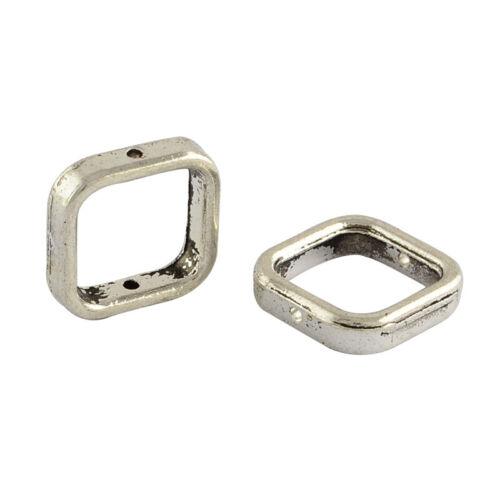 2392 12 unidades perlas marco 14x14mm cuadrado entre perla marco Antik plata
