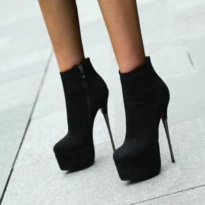 Boots-Sexy-Daim-Haut-Talons-Aiguille-16-Cm-P35-40-NEUVES