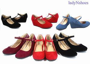 NEW-Fashion-Round-Toe-Strap-Low-Platform-Wedge-Heel-Women-039-s-Shoes-Size-5-10