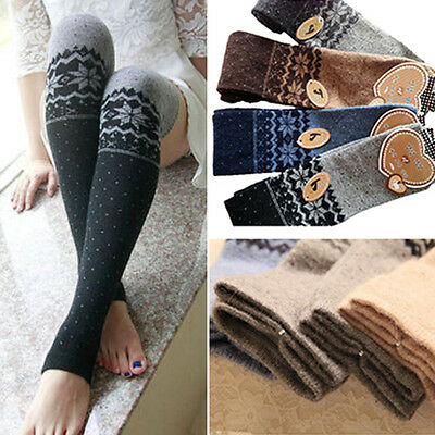 Women Snowflake Thigh High Leg Warmers Socks Over Knee Boot Cuff Stocking Nobby