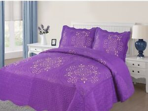 Empire-Home-Diana-3-Piece-Quilted-Bedspread-Embroidered-Cotton-Touch-Purple