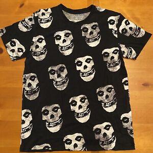 Misfits Skull Punk Rock Skater Band Tee Shirt Allover Print Goth Black Large EUC