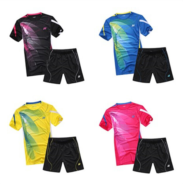 Free shipping 2015 NEW men's tops table tennis Badminton Set shirt+shorts 36115