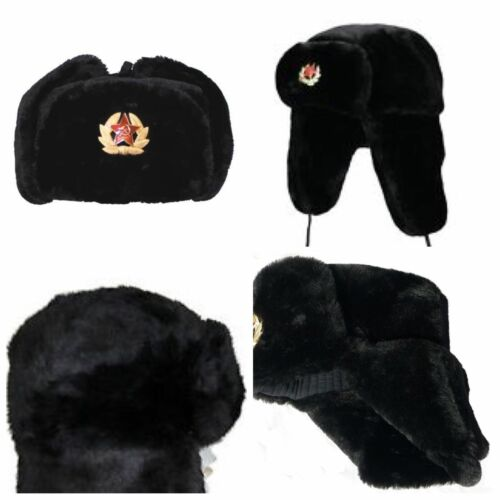 MEN UNISEX RUSSIAN TRAPPER HAT WITH SOVIET BADGE FAUX FUR USHANKA COSSACK FLAPS