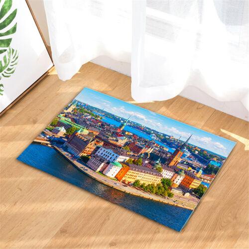 "Sweden Old Harbour Town Bathroom Shower Curtain Waterproof Fabric /& 12 Hooks 71/"""