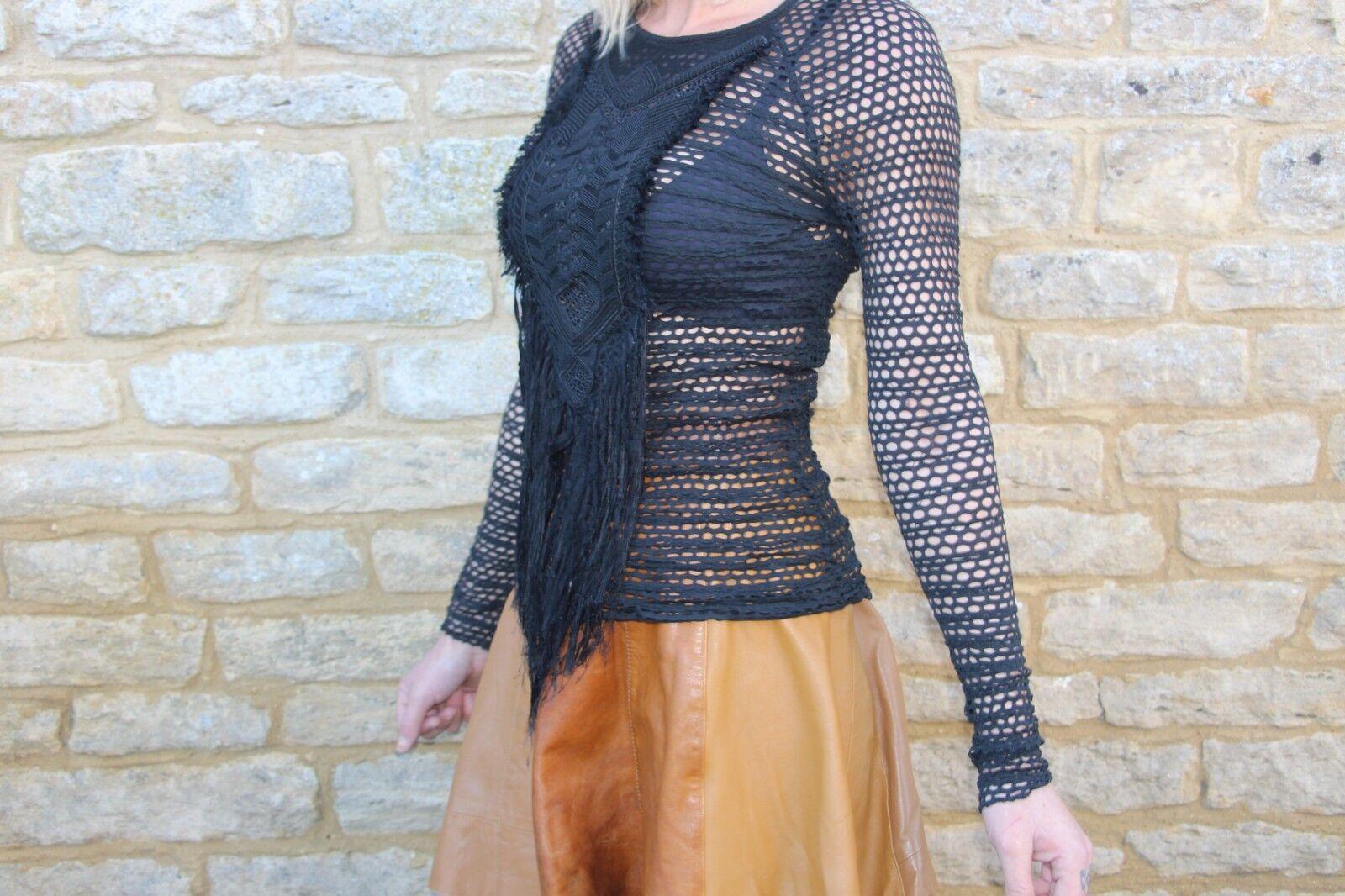 Diseñador Isabel Marant Negro Fishnet yugo de seda con  cuentas Tamaño súperior 0 XS  barato y de moda