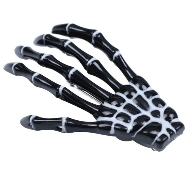 Fashion Punk Rock Devil Skeleton Hand Claw Hair Clips Black Y7B8