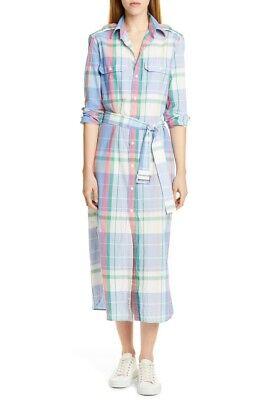 Polo Ralph Lauren Women's Madras Woven Plaid Cotton Belted Shirtdress - 6   eBay