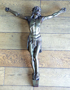 ANCIEN-GRAND-CHRIST-BRONZE-patine-1900-Signe-J-RABIANT-42X55cm-CALVAIRE