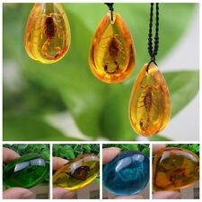Natural Resin Amber Butterfly Scorpion Crabs Ants Spider Insect Stone Pendants
