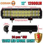 12 Inch OSRAM 120W LED Flood Spot Work Light Bar Offroad Driving 4WD Truck SUV