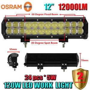 12-Inch-OSRAM-120W-LED-Flood-Spot-Work-Light-Bar-Offroad-Driving-4WD-Truck-SUV