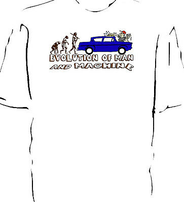 Ford Anglia Estate 105e /'Evolution of Man/' classic car t-shirt