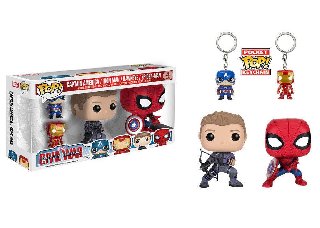 Set figura captain america bürgerkrieg llavero iron man und spider - man - pop funko   1