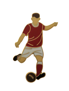 Maroon & White Football Player Gold Plated Pin Badge