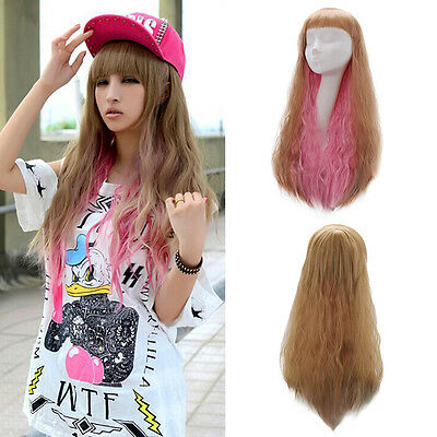 Women Ladies Long Curly Wavy Full Wig Gold Mix Pink Hair Cosplay Costume Party
