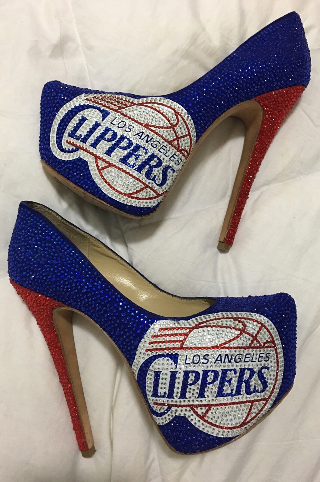 all'ingrosso a buon mercato LA LA LA Clippers Los Angeles NBA Herstar Crystal Strass Limited Edition Pumps Heels 8  merce di alta qualità e servizio conveniente e onesto