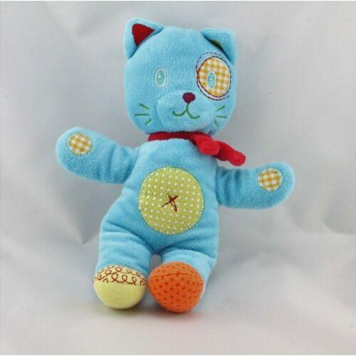 Doudou chat bleu vert rapiécé NICOTOY Tigre Classique Lion Chat