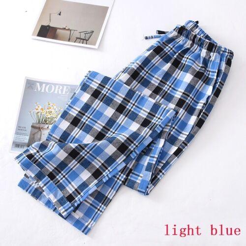Men Sleep Bottoms Pajama Trousers Checks Pants Cotton Loose Casual Homewear
