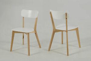 2er set esszimmerstuhl raven stuhl holzstuhl vierfu stuhl wei holz ebay. Black Bedroom Furniture Sets. Home Design Ideas