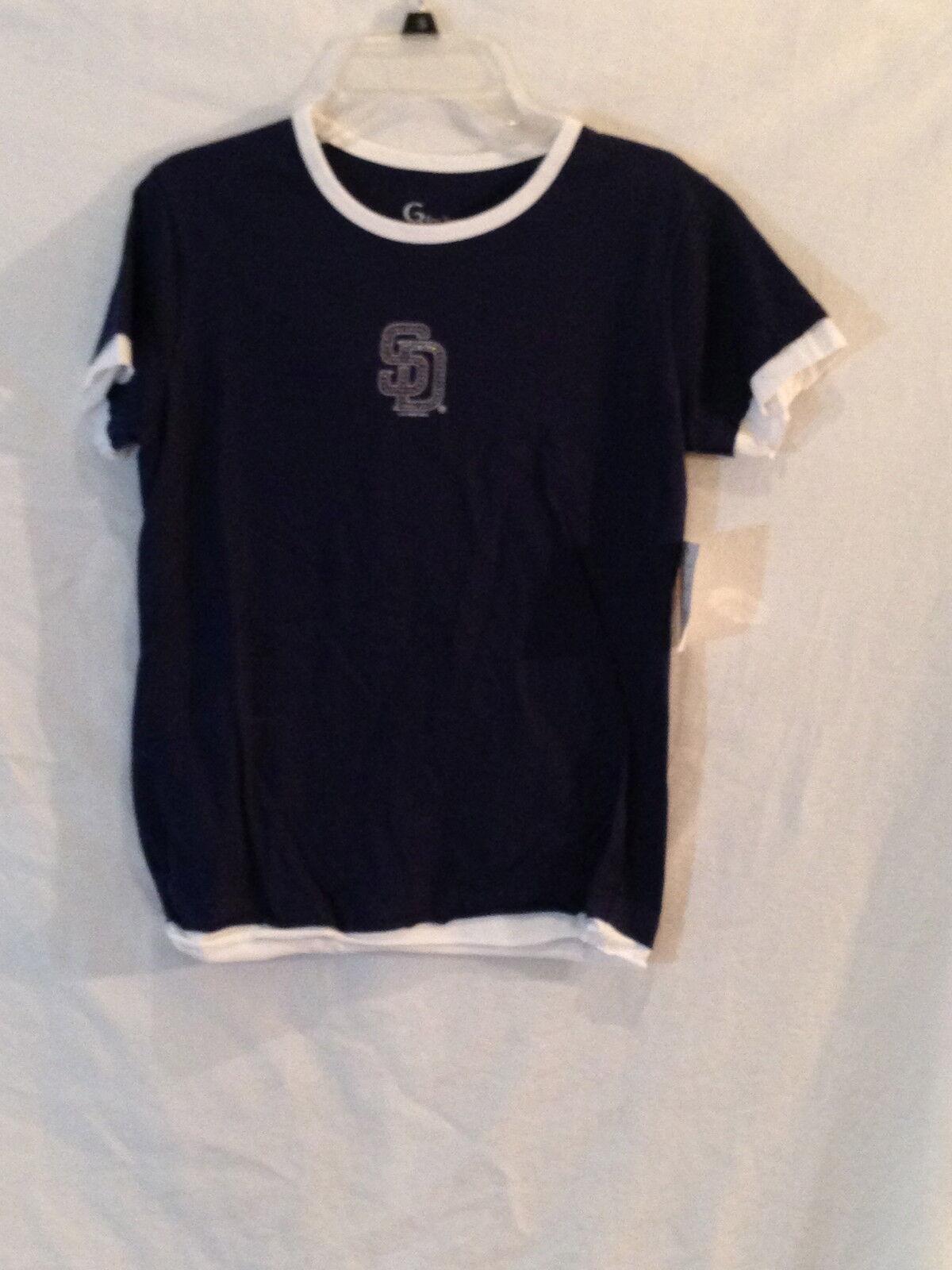 San Diego Padres Damen Damen Damen T-Shirt mit Mini-Sequins-Mlb Friar-Wear für Her-Small b90433