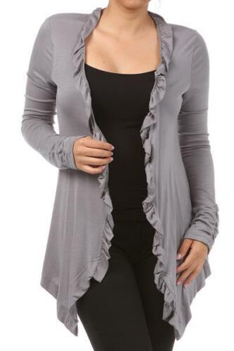 Ladies Ruffle Cardigan Sizes XL 3XL Several Colors BLK Wht Pink Purp Tan Plus