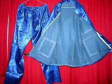 shiny blue satin rubber lined raincoat jacket trousers  slocky rustle TV