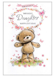 For A Really Fabulous Daughter Happy Birthday Card, Cute Bear, Butterflies
