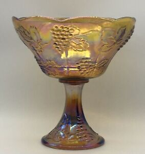 Marigold-Indiana-Carnival-Glass-Harvest-Grape-Compote-Pedestal-Fruit-Bowl